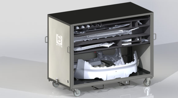 Plastic part storing trolley